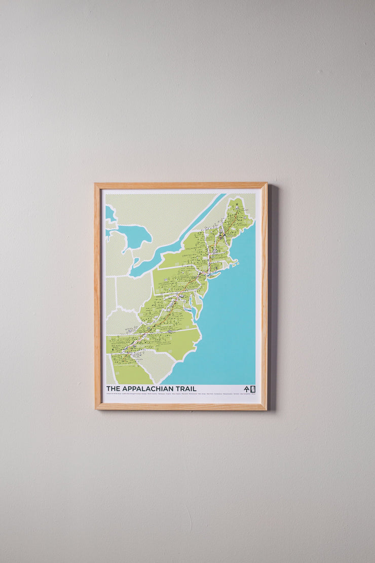 The Appalachian Trail Print by Brainstorm - 2,200 miles - A.T. Trail Map