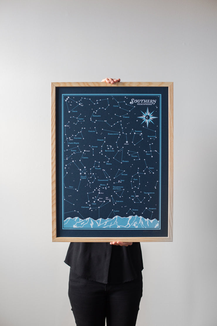 Southern Hemisphere Star Chart Print by Brainstorm - Night Sky Poster - Starry Night!