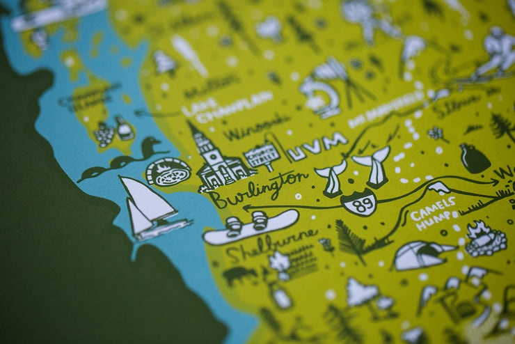 Vermont Map Screenprint by Brainstorm