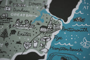 New Hampshire Map Screenprint by Brainstorm