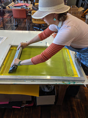 Screenprinting process of the Brainstorm Wild Garden Print - Limited Edition of 50