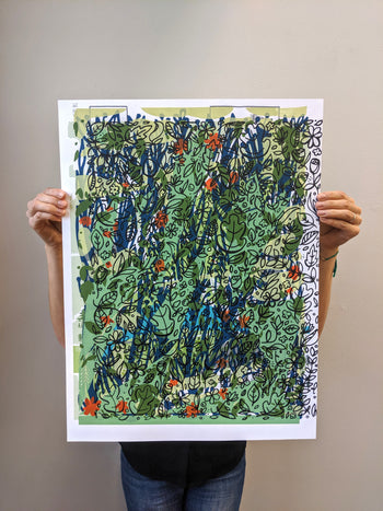 Brainstorm Test Print #46 - One of a kind screenprint - monoprint