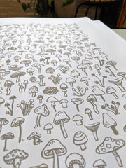 Gray Mushrooms Print by Brainstorm