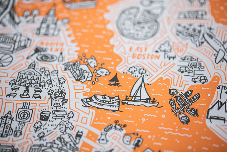 Boston Map Screenprint by Brainstorm