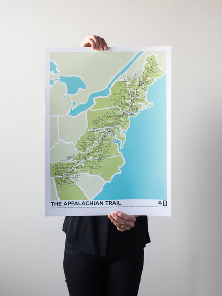 The Appalachian Trail Print by Brainstorm - 2,200 miles through 14 states: GA, NC, TN, VA, WV, MD, PA, NJ, NY, CT, MA, VT, NH, ME - Go hike a trail!