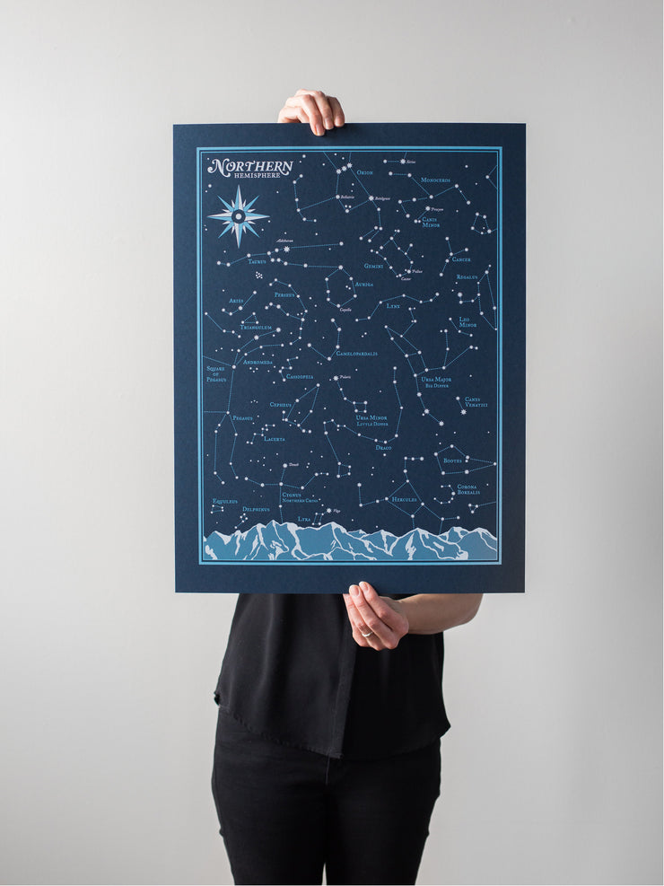Northern Hemisphere Start Chart Print by Brainstorm - Constellations, Night Sky, Stars, Orion, Lyra, Cassiopeia, Big Dipper, Little Dipper, Aries