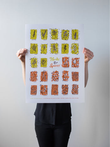 Herbs & Spices Print by Brainstorm - HERBS: rosemary, oregano, parsley, mint, chives, thyme, sage, basil, dill, bay, cilantro, savory SPICES: cinnamon, ginger, cloves, vanilla, nutmeg, paprika, cumin, peppercorn, turmeric, mustard, cardamom, coriander