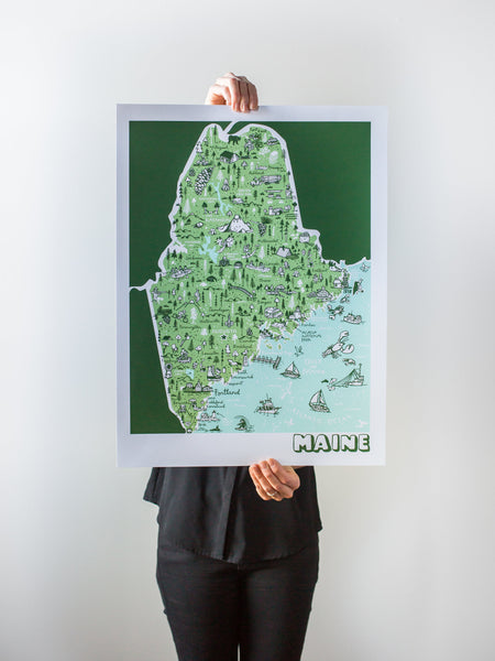 Maine Map Print by Brainstorm - Visit Portland, Kennebunkport, Acadia, Freeport, York, Fryeburg, Camden, Mt. Katahdin, Lewiston, Allagash