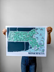 Massachusetts Map Print by Brainstorm - Boston, Worcester, Plymouth, Lowell, Newburyport, Northampton, Springfield, Chatham, Salem, Provincetown