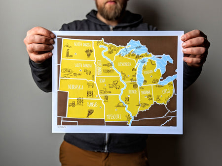 American Atlas - The Midwest 11x14