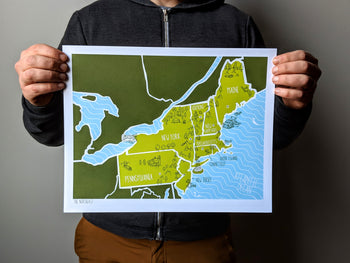 Northeast Map Print by Brainstorm