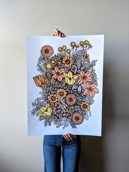 Overgrowth Floral Print in Warm Tones by Brainstorm