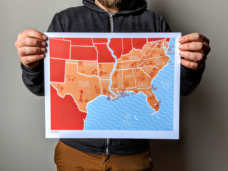 American Atlas - The South 11x14