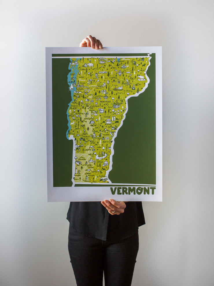 Vermont Map Print by Brainstorm - Visit Vermont! The Green Mountain State - Middlebury, Burlington, Waterbury, Woodstock, Rutland, Stowe, Ludlow, Shelburne