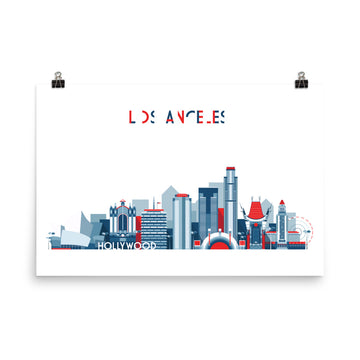 Los Angeles In Red White Blue - Poster