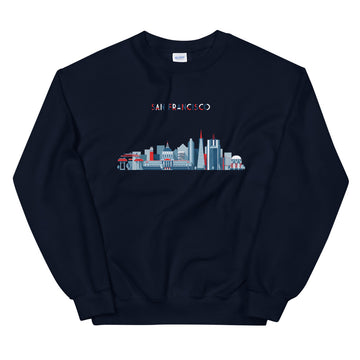 San Francisco In Red White Blue - Men's Crewneck Sweatshirt
