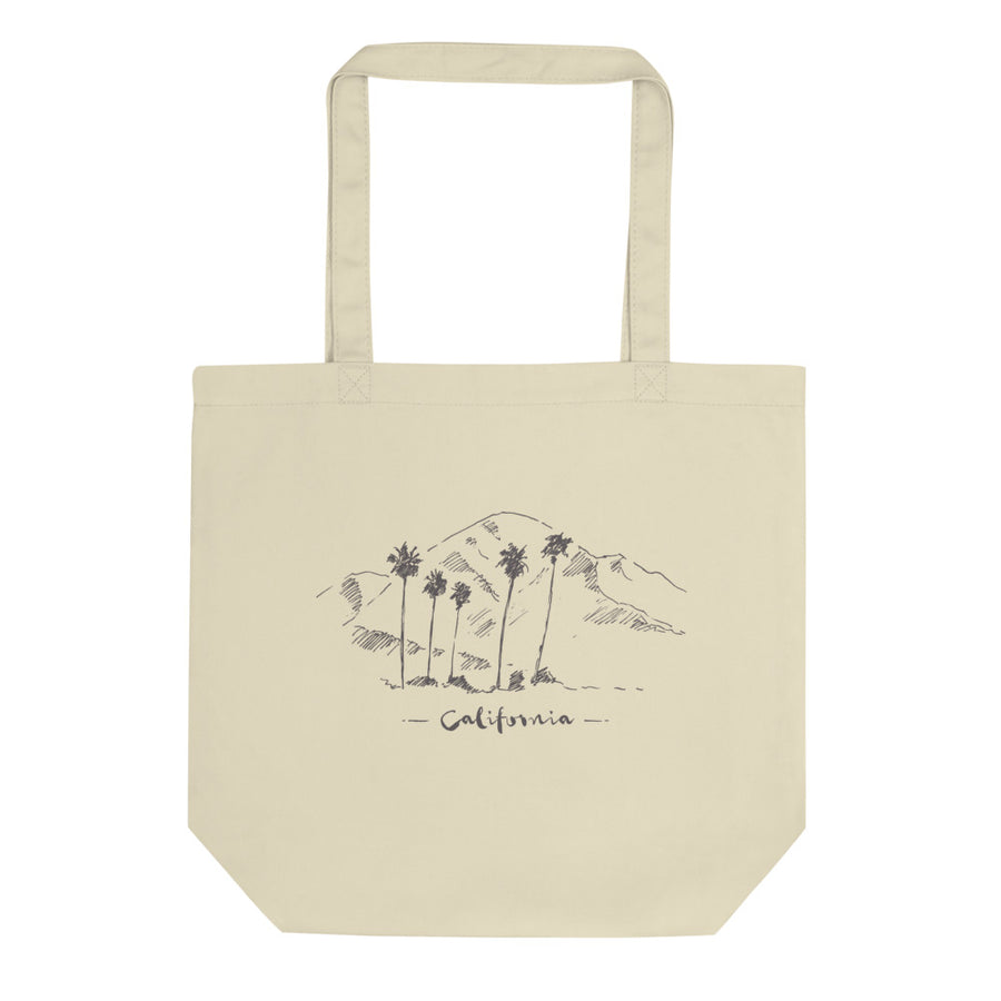 Hand Drawn California Mountain & Palms - Tote Bag