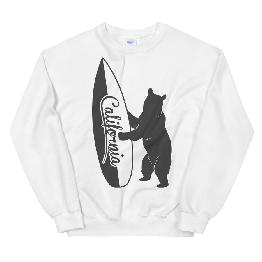 Bear With California Surfboard - Women's Crewneck Sweatshirt