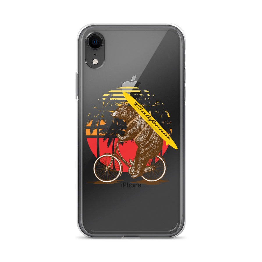 California Surfer Bear On Bike - Phone Case