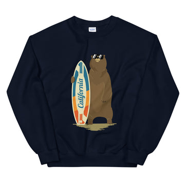 California Surfer Bear - Men's Crewneck Sweatshirt