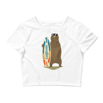 California Surfer Bear - Women's Crop Top