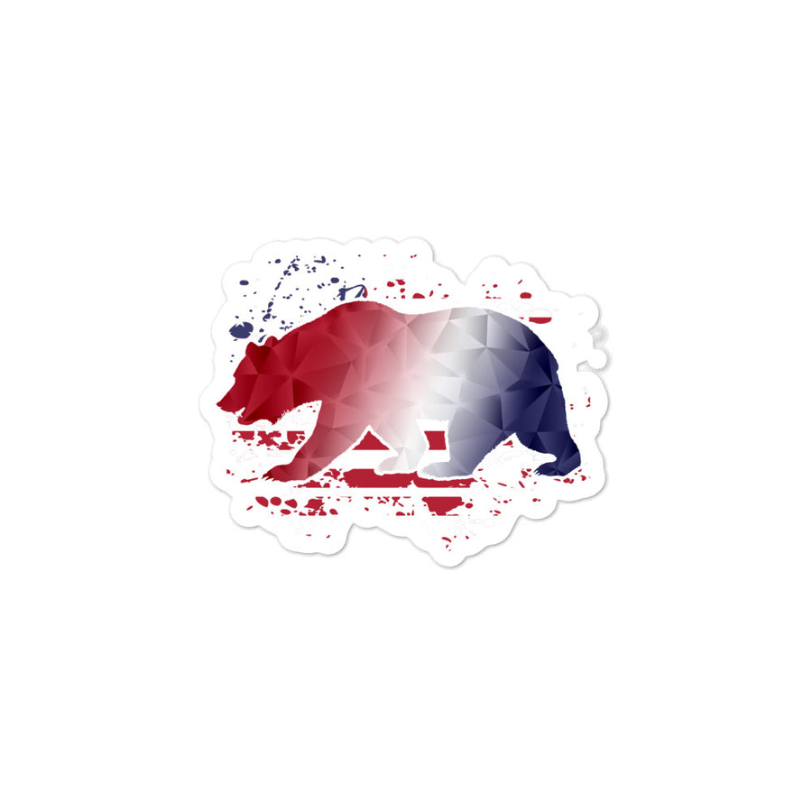 American Flag CA Bear - Sticker
