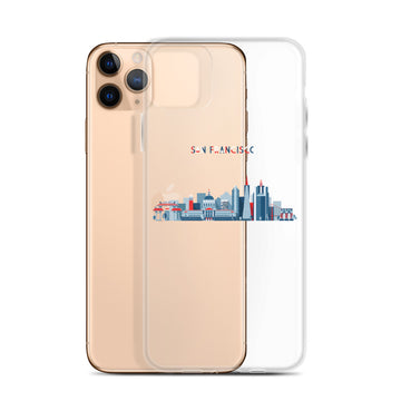 San Francisco In Red White Blue - iPhone Case