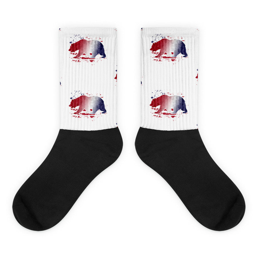 American Flag CA Bear - Socks