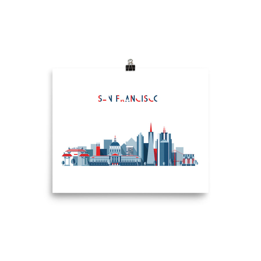 San Francisco In Red White Blue - Poster