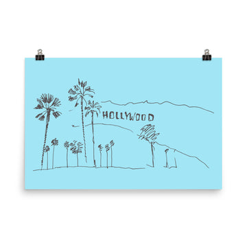 Hand Drawn Hollywood Sign - Poster