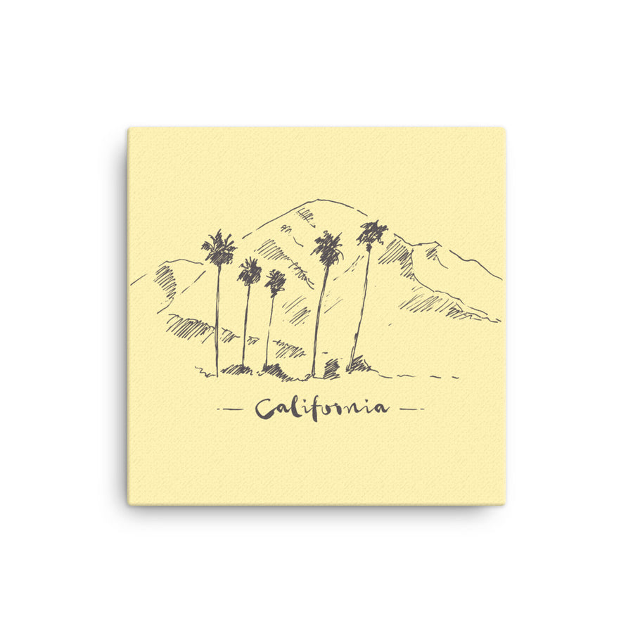 Hand Drawn California Mountain & Palms - Canvas Art