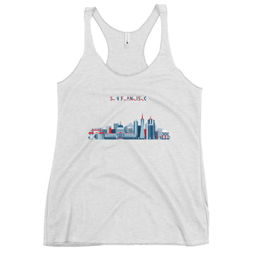 San Francisco In Red White Blue - Women's Tank Top
