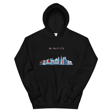 San Francisco In Red White Blue - Women's Hoodie
