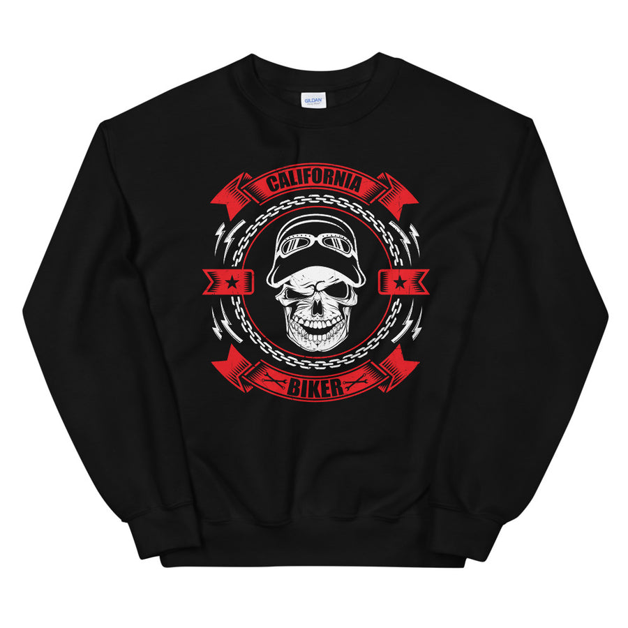 California Biker Skull - Women's Crewneck Sweatshirt