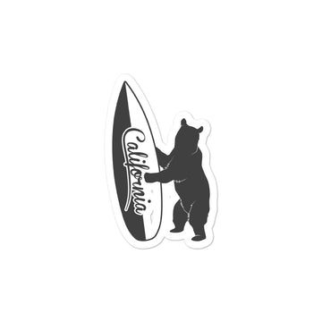 Bear With California Surfboard -  Sticker