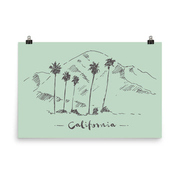 Hand Drawn California Mountain & Palms - Poster