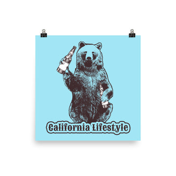 California Lifestyle Beer Bear - Poster