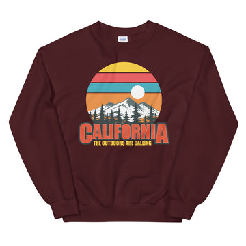 California The Outdoors Are Calling - Men's Crewneck Sweatshirt