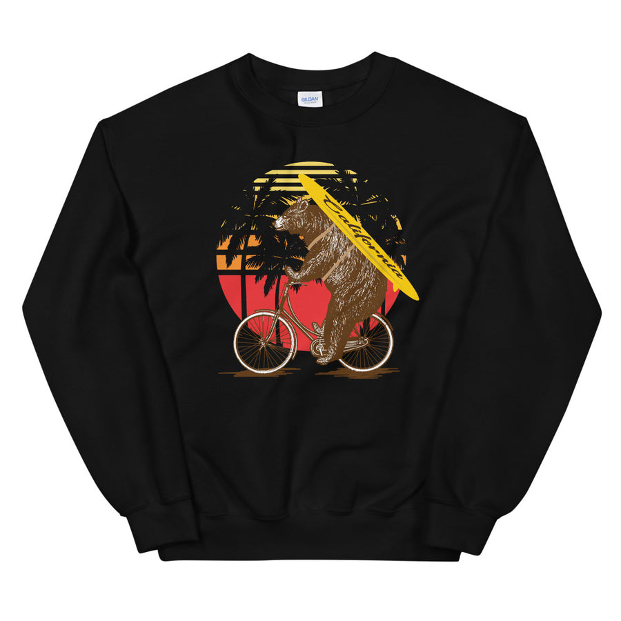 California Surfer Bear On Bike - Men's Crewneck Sweatshirt