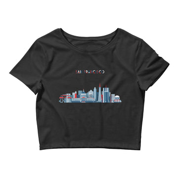 San Francisco In Red White Blue - Women's Crop Top
