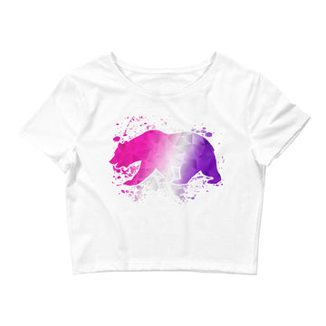 Pink & Purple CA Bear - Women's Crop Top