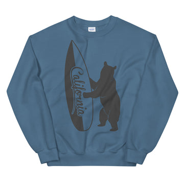 Bear With California Surfboard - Men's Crewneck Sweatshirt