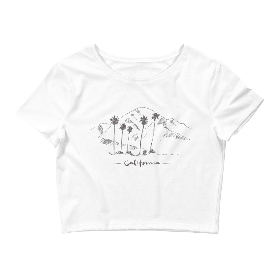 Hand Drawn California Mountain & Palms - Women's Crop Top