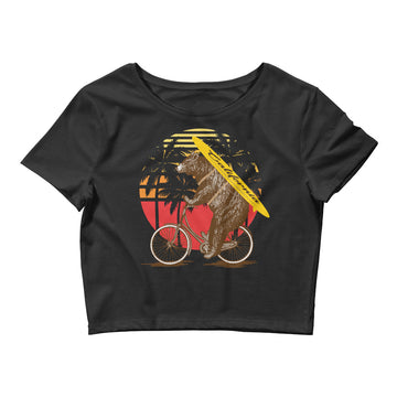 California Surfer Bear On Bike - Women's Crop Top