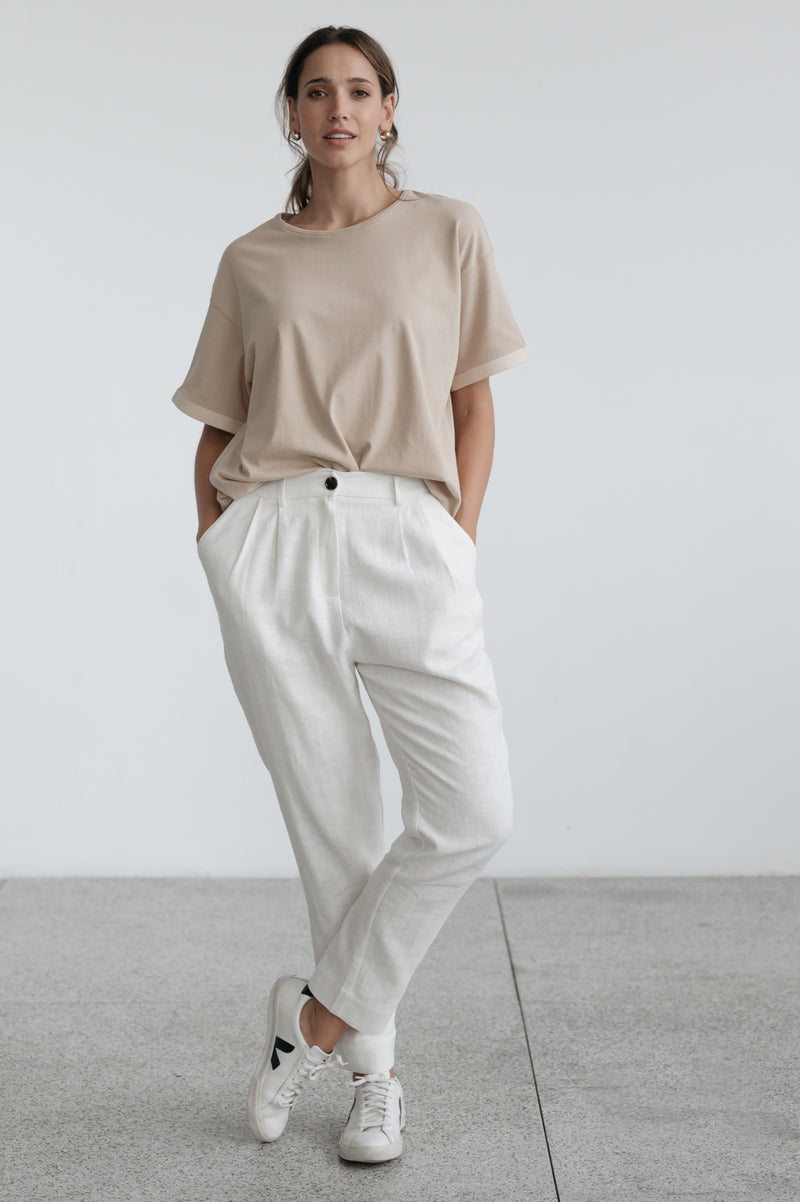 Jada Pleat Front Pant - Ivory