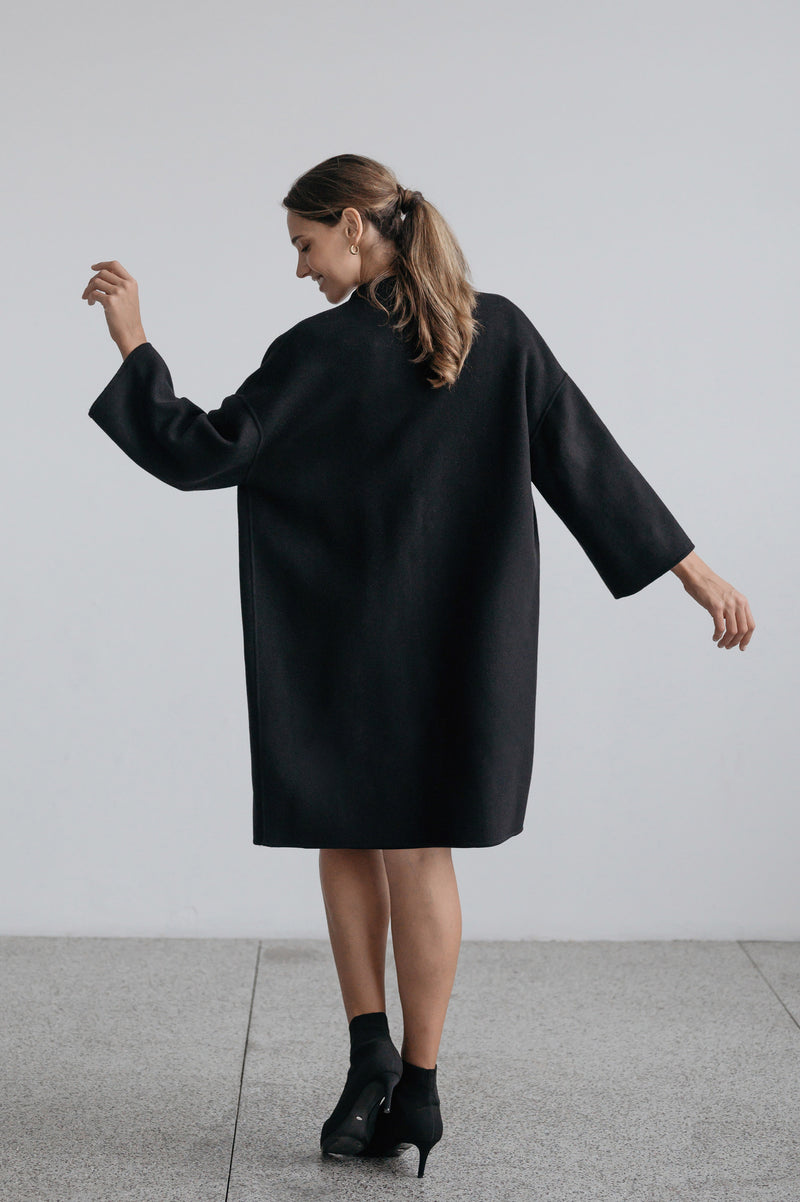 Luda Cocoon Coat - Black