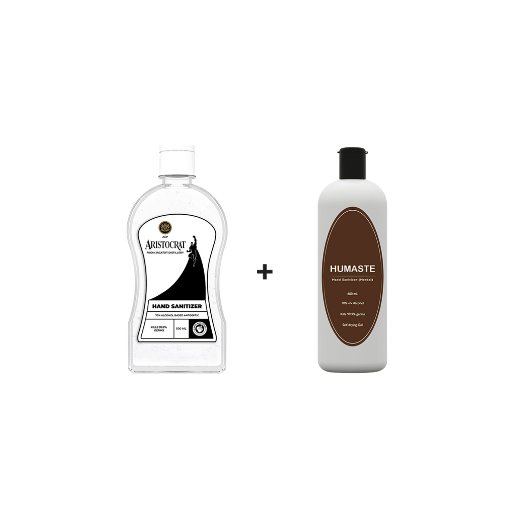 1 ACP Aristocrat Instant Hand Sanitizer with 70% Alcohol (500 ML) + 1 Humaste Herbal Hand Sanitizer with 70% Alcohol (600 ML) | Combo Pack - Jagatjit Industries Limited