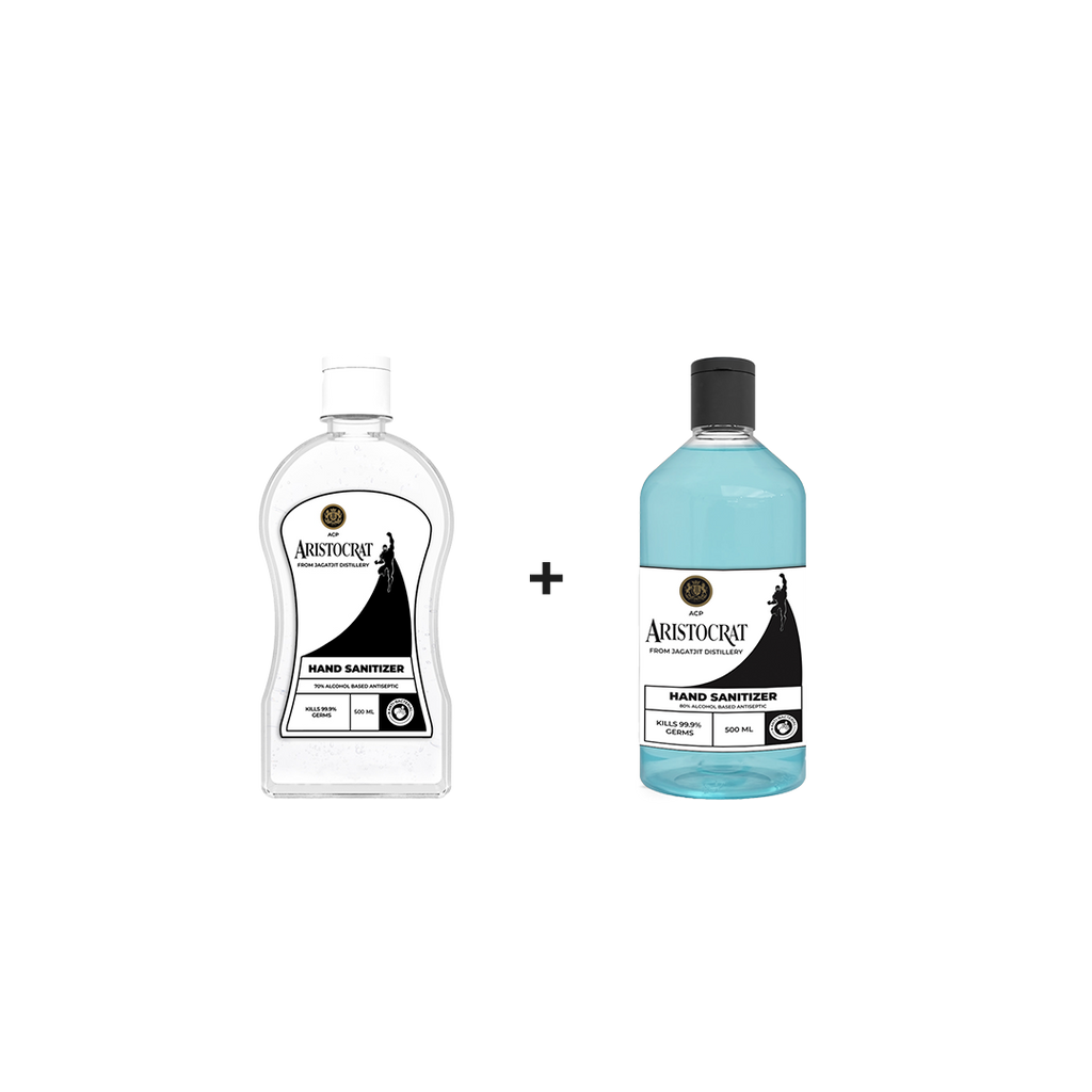 ACP Aristocrat Hand Sanitizer with 80% Alcohol | 1  Liquid (500 ML) + 1 Gel Bottle (500 ML) Combo Pack - Jagatjit Industries Limited