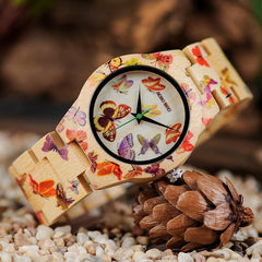 Wooden Watch for Women Band Painting Butterfly in Wooden Box