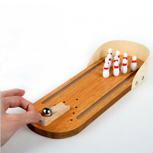 Child Toys Wooden Mini Desktop Bowling Game